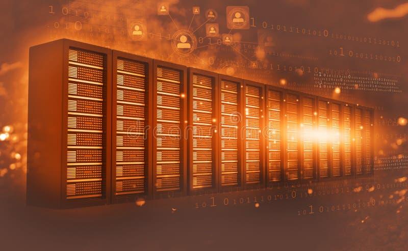 De ruimte van de computerserver met binaire gegevens vector illustratie