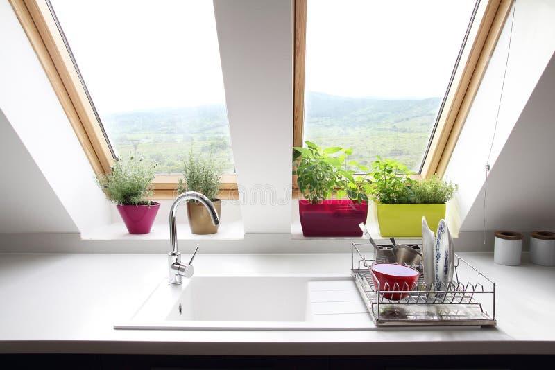 De ruimte van de keukenzolder stock afbeeldingen