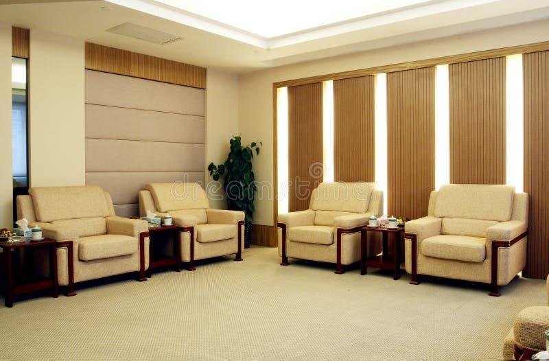 De ruimte van de ontvangst in een hotel. royalty-vrije stock afbeelding