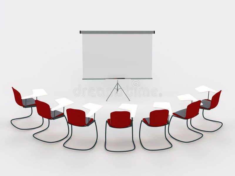 De ruimte van de opleiding met tellersraad en stoelen vector illustratie