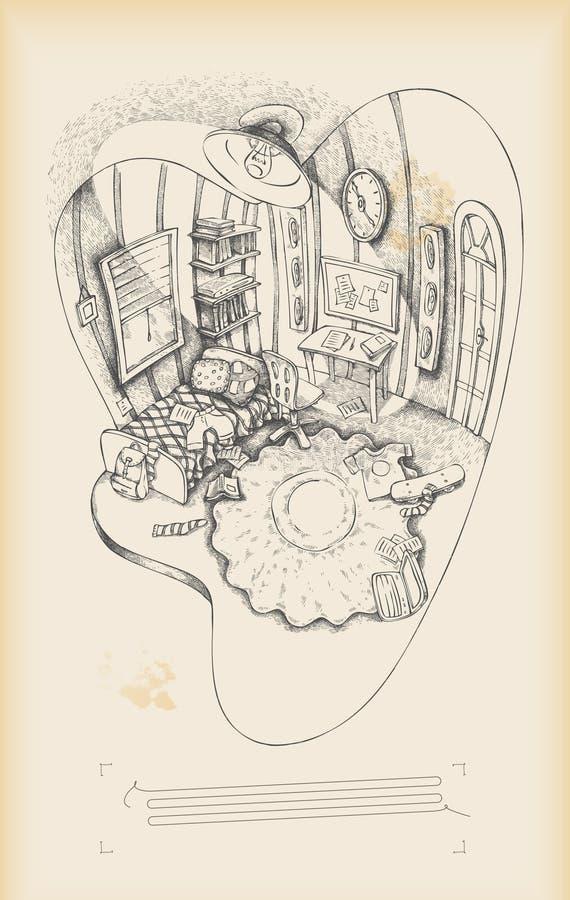 De ruimte van de tiener - binnenland royalty-vrije illustratie