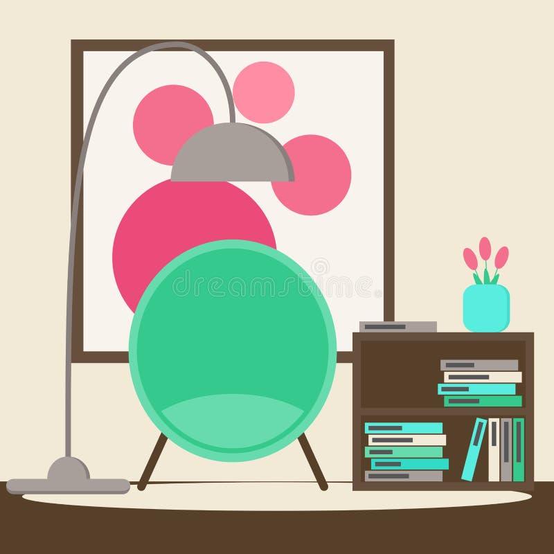 De ruimte van de woonkamerlezing met moderne stoel, boektribune, beeld en bloemen royalty-vrije illustratie