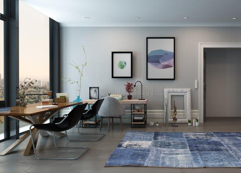 De Ruimte van het huisbureau met Eclectisch Meubilair royalty-vrije stock afbeeldingen
