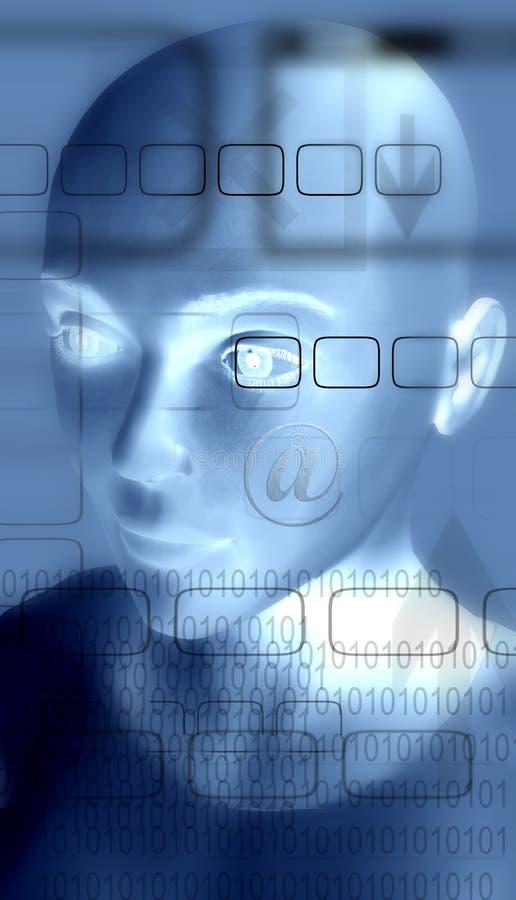 De ruimte van het Web - vrouwenhoofd stock illustratie
