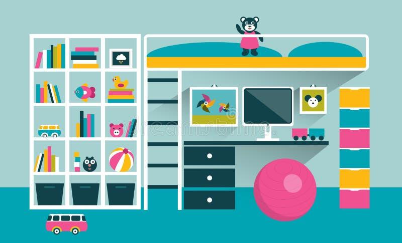 De ruimte van jonge geitjes Kinderenmeubilair met stapelbed en lijst stock illustratie