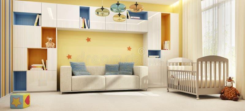 De ruimte van mooie kinderen met een bed stock fotografie