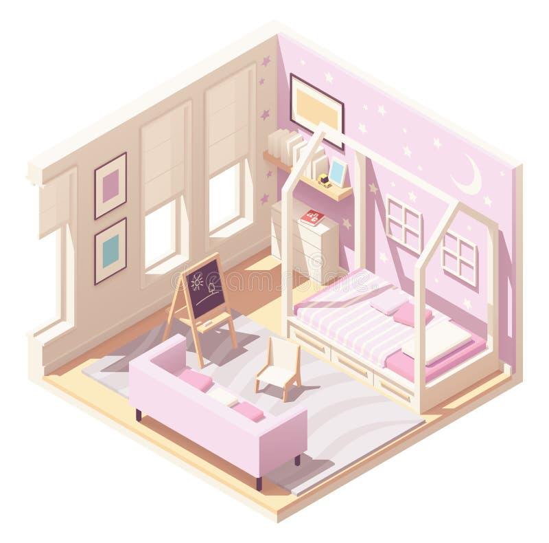 De ruimte van vector isometrische kinderen royalty-vrije illustratie