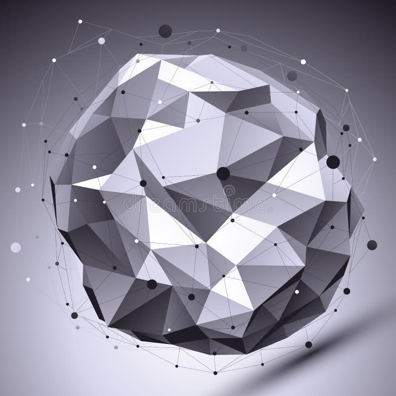 De ruimte vector zwart-wit digitale eps8 dimensionale achtergrond, bedriegt royalty-vrije illustratie