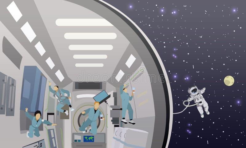 De ruimte vectorillustratie van het opdrachtconcept Kosmonauten die in geen ernst vliegen stock illustratie