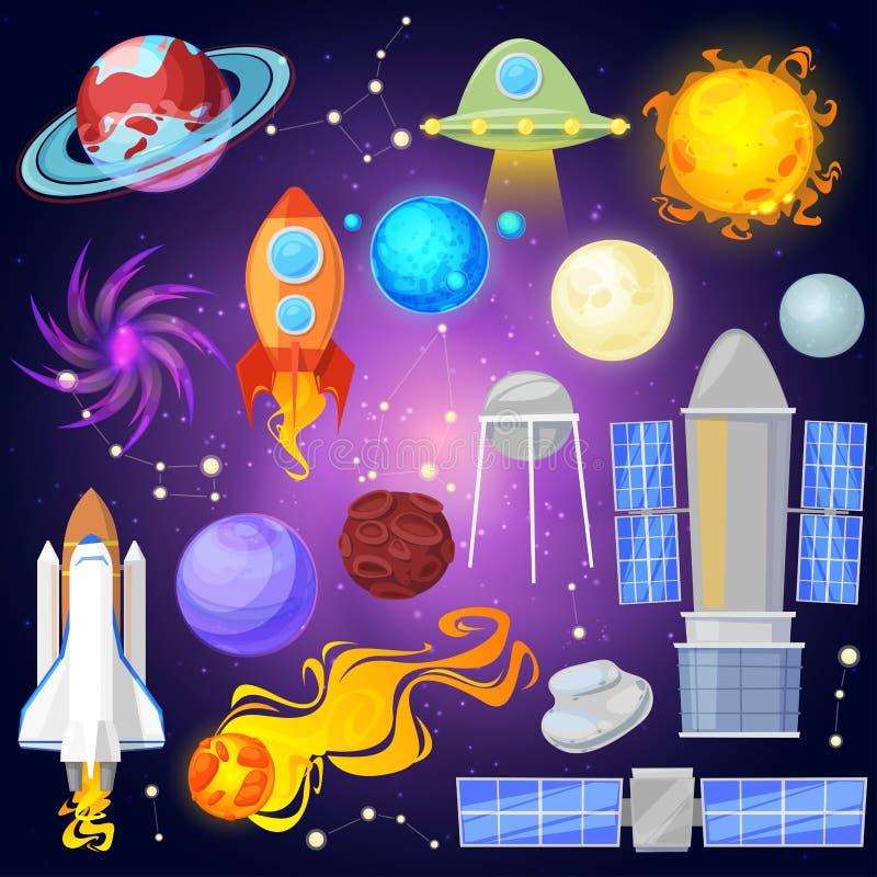 De ruimte vectorplaneten en het ruimteschip in planetarisch systeem met kwikvenus aarde of brengen in planetarium in de war en as royalty-vrije illustratie