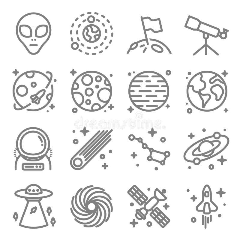 De ruimte vectorreeks van het lijnpictogram Met inbegrip van Vreemdeling, Melkweg, Ruimteschip, Astronaut en meer stock illustratie