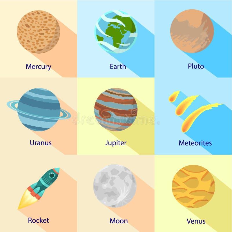 De ruimte zonnereeks van het planeetpictogram, vlakke stijl stock illustratie