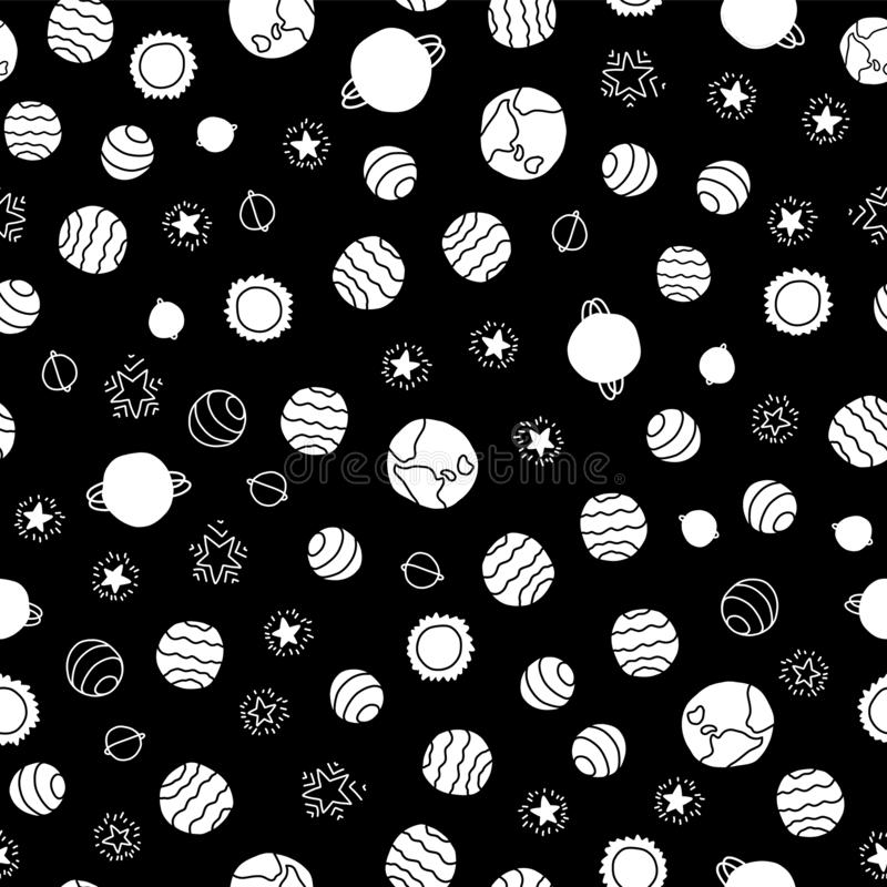 De ruimteachtergrond van het planeten naadloze vectorpatroon De witte hand getrokken kosmische sterren van elementenplaneten op z vector illustratie