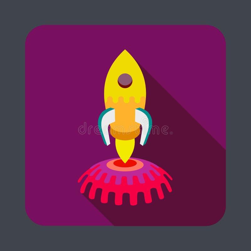 De ruimteachtergrond van het raketconcept, beeldverhaalstijl royalty-vrije illustratie