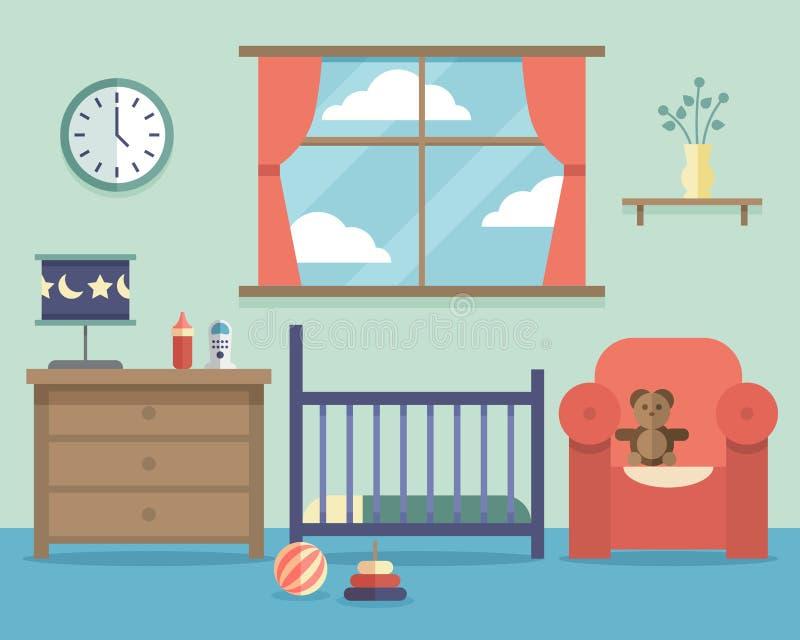 De ruimtebinnenland van de kinderdagverblijfbaby met meubilair in vlakte stock illustratie