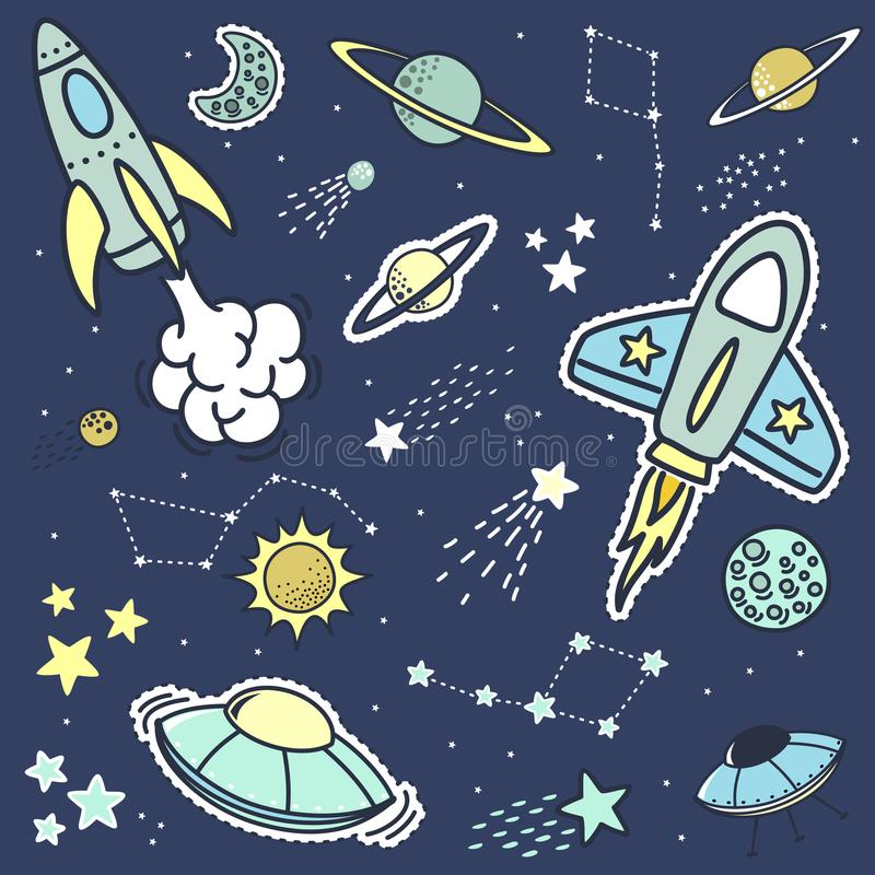 De ruimteflarden van objetsstickers en ontwerpelementen vector illustratie