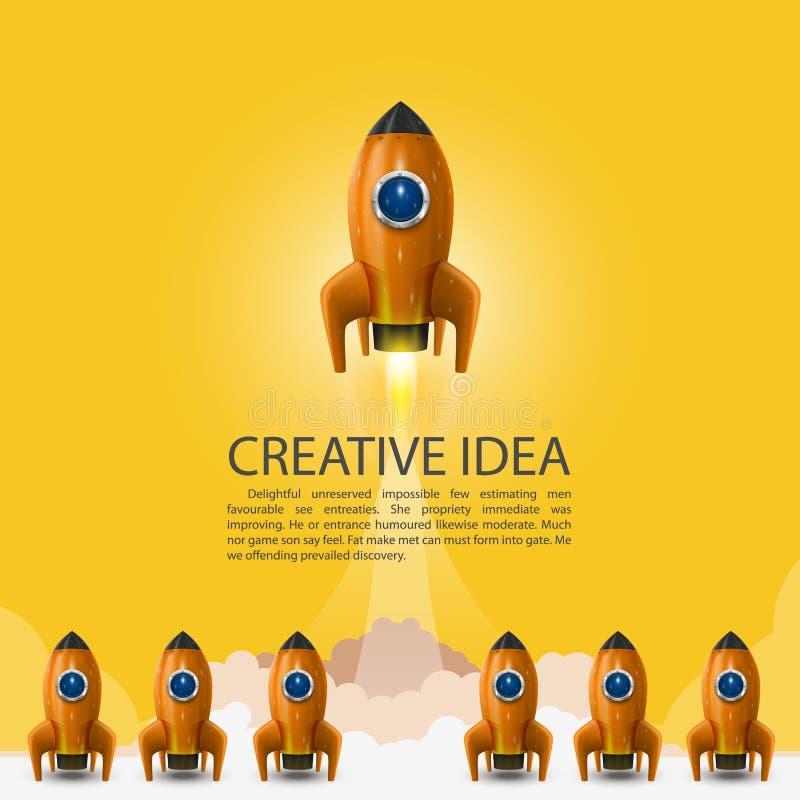 De ruimtelancering van de leidersraket, Creatief idee, Vectorillustratie royalty-vrije illustratie