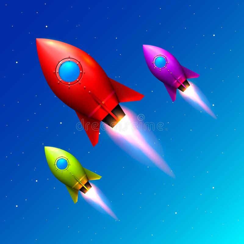 De ruimtelancering van kleurenraketten, Creatief idee royalty-vrije illustratie