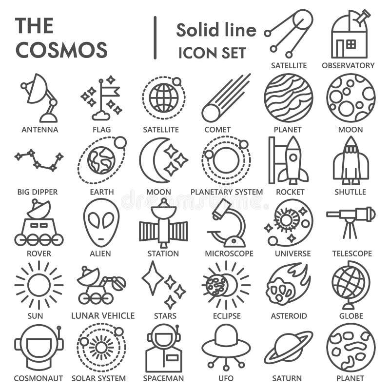 De ruimtelijn ONDERTEKENDE pictogramreeks, de inzameling van astronomiesymbolen, vectorschetsen, embleemillustraties, lineaire we royalty-vrije illustratie