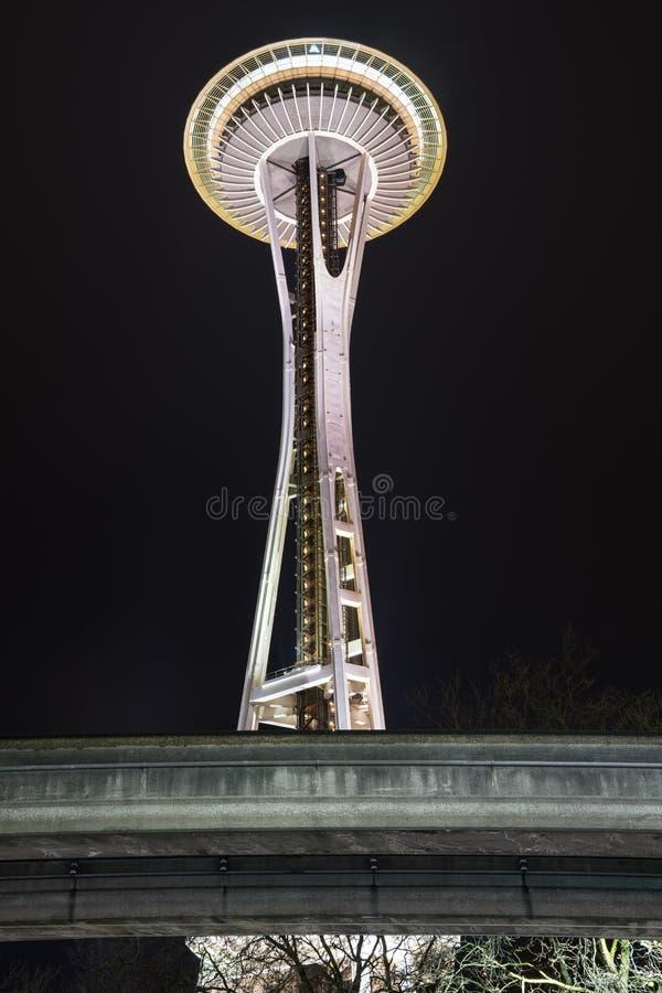 De Ruimtenaald van Seattle bij nacht royalty-vrije stock fotografie