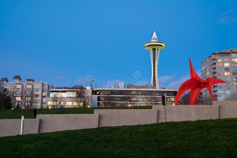 De Ruimtenaald van Seattle bij schemering stock afbeelding