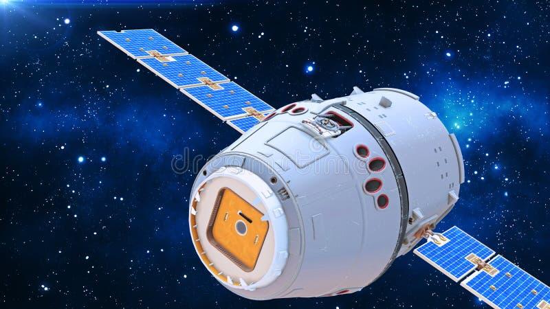 De ruimtesatelliet, de communicatiesatelliet met capsule en de zonnepanelen in kosmos met sterren op de achtergrond, sluiten omho vector illustratie