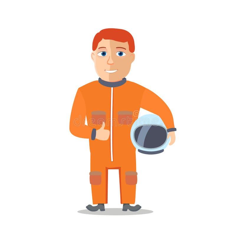 De Ruimtevaarder van het beeldverhaalkarakter met Cpace-Kostuum Vector vector illustratie