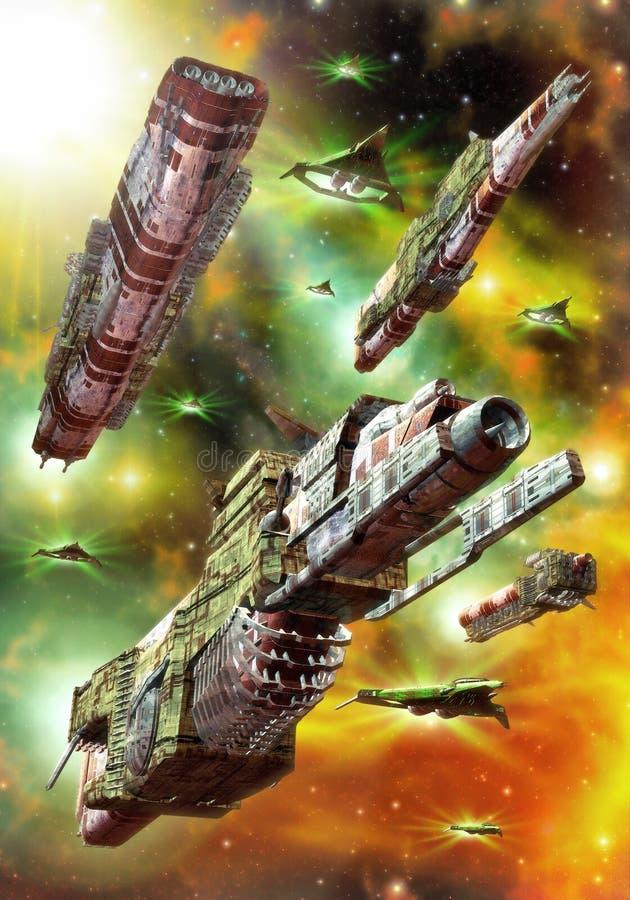 De ruimtevloot van het ruimteschip stock illustratie