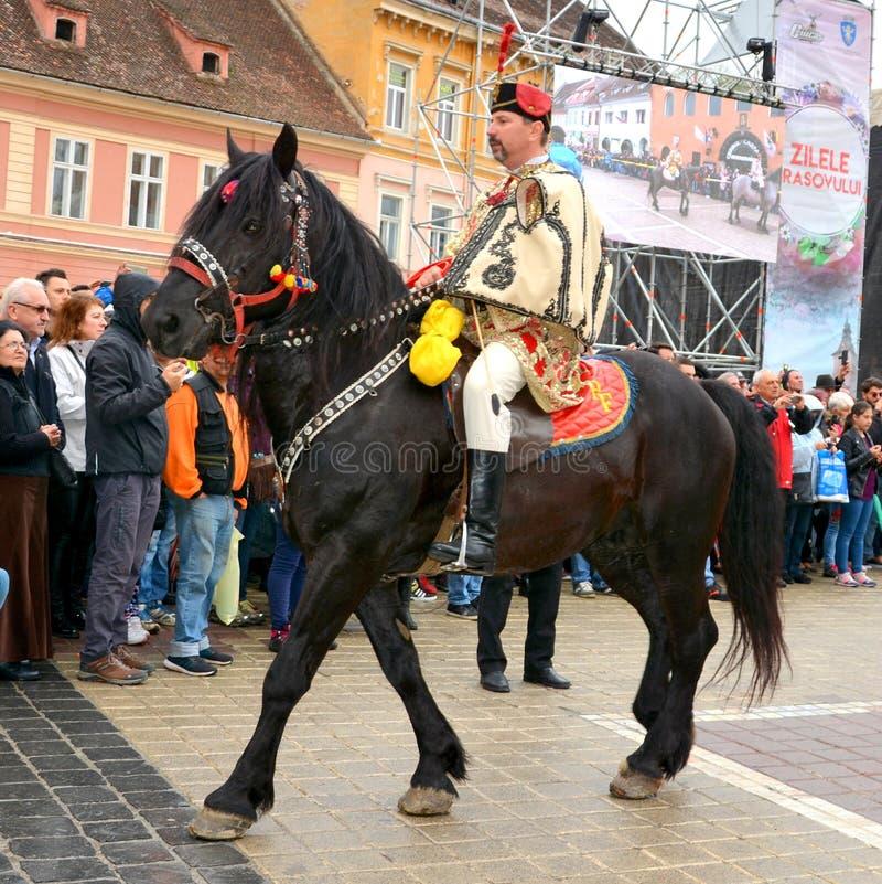 De ruiters tijdens Brasov Juni paraderen royalty-vrije stock afbeelding