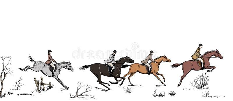De ruitersportvos jacht met de Engelse stijl van paardruiters op landschap vector illustratie