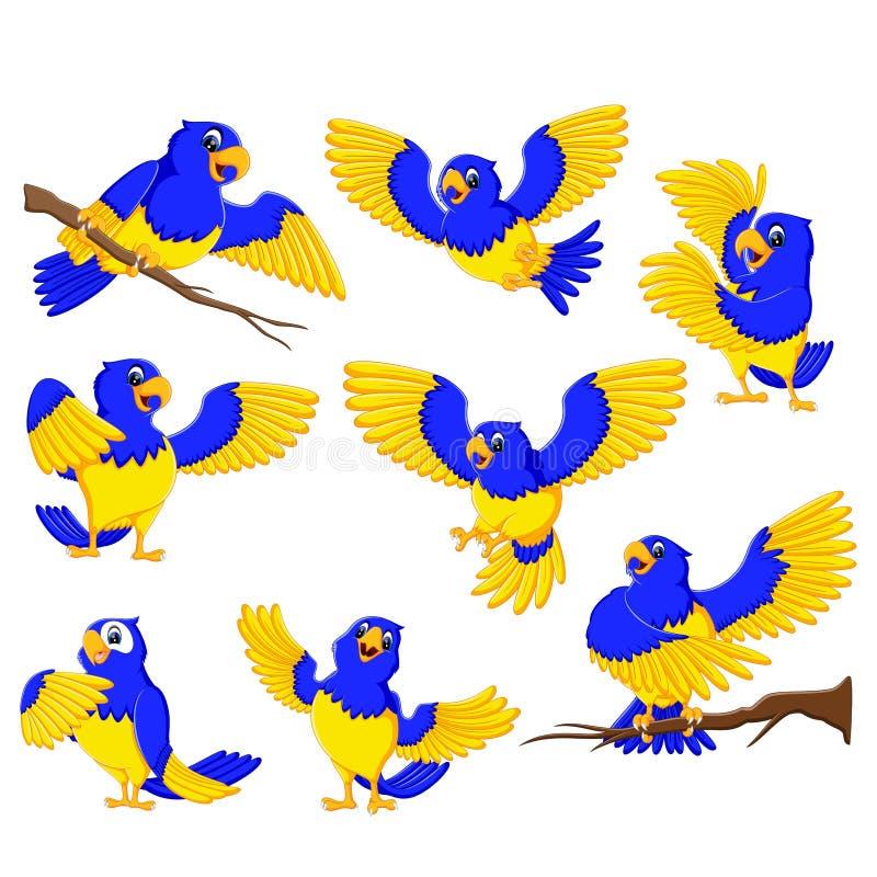 De rusa papegojorna med den guld- brytningen royaltyfri illustrationer