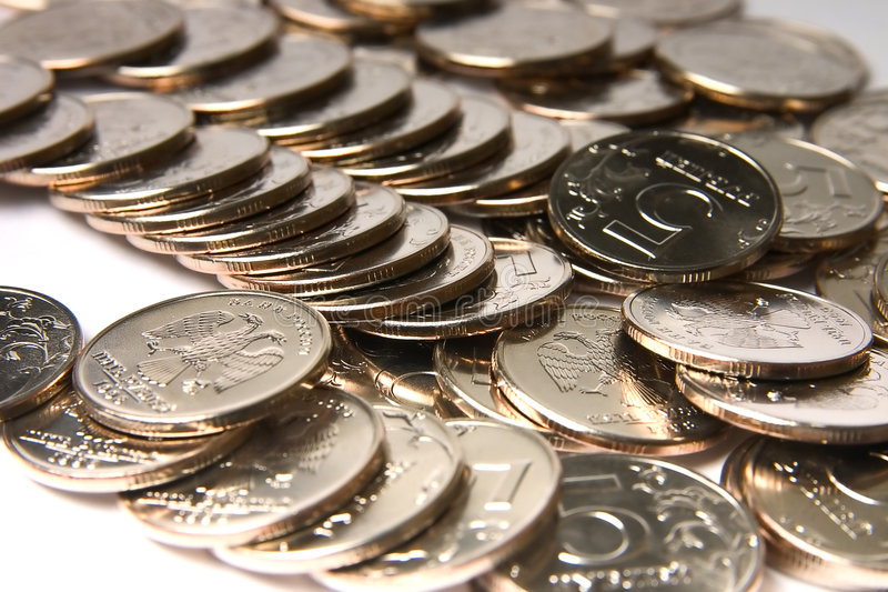De Russische Federatie van muntstukken stock afbeelding
