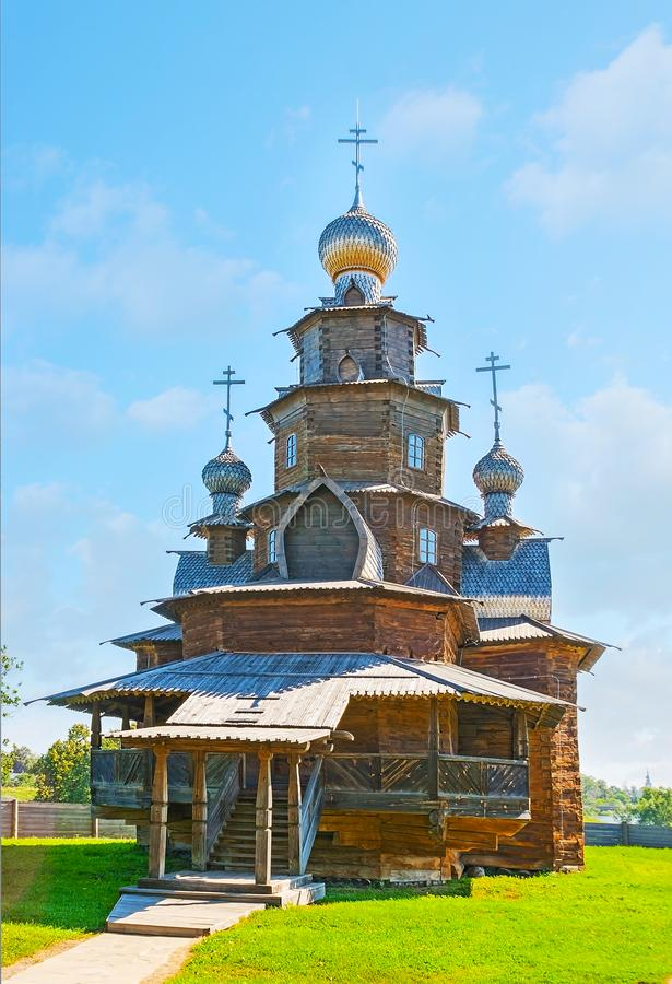 De Russische houten kerk in Suzdal-museum stock afbeelding