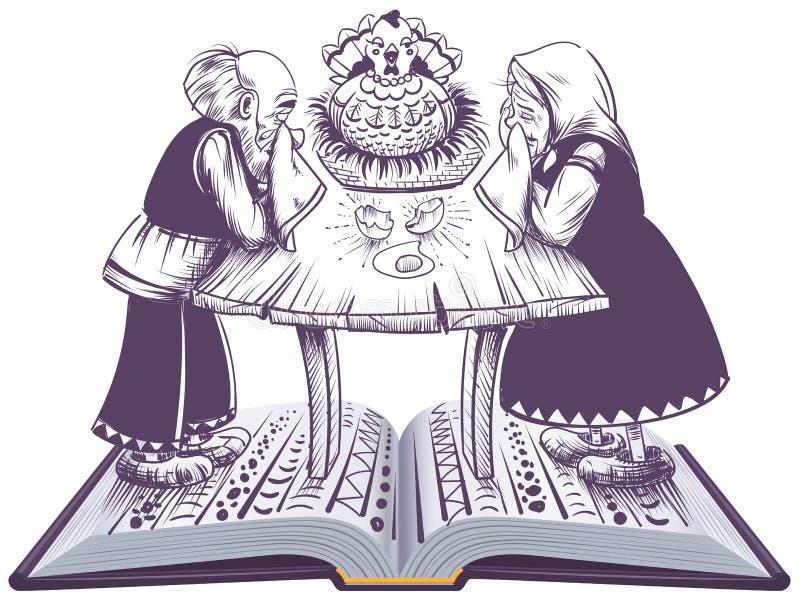 De Russische illustratie van het ryaba open boek van de sprookjekip royalty-vrije illustratie