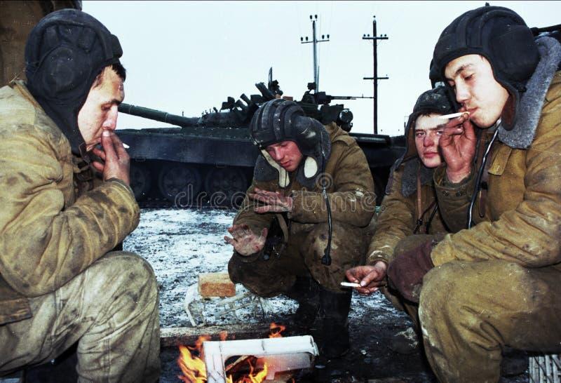DE RUSSISCHE INVASIE VAN TCHETCHENIË stock afbeeldingen