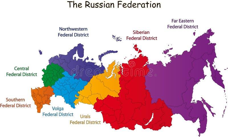 De Russische kaart van de Federatie stock illustratie