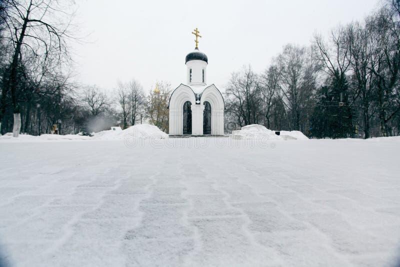 De Russische Orthodoxe kapelwinter stock afbeeldingen