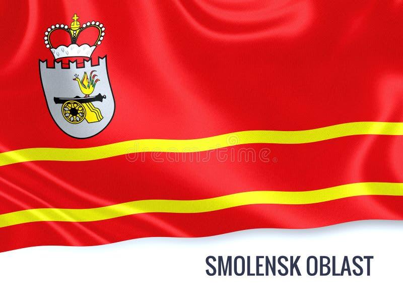 De Russische vlag die van Smolensk Oblast van de staat op geïsoleerde witte B golven stock illustratie