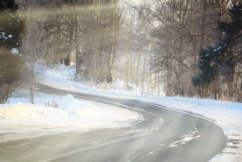 De Russische weg van het de winterlandschap in bos stock afbeeldingen