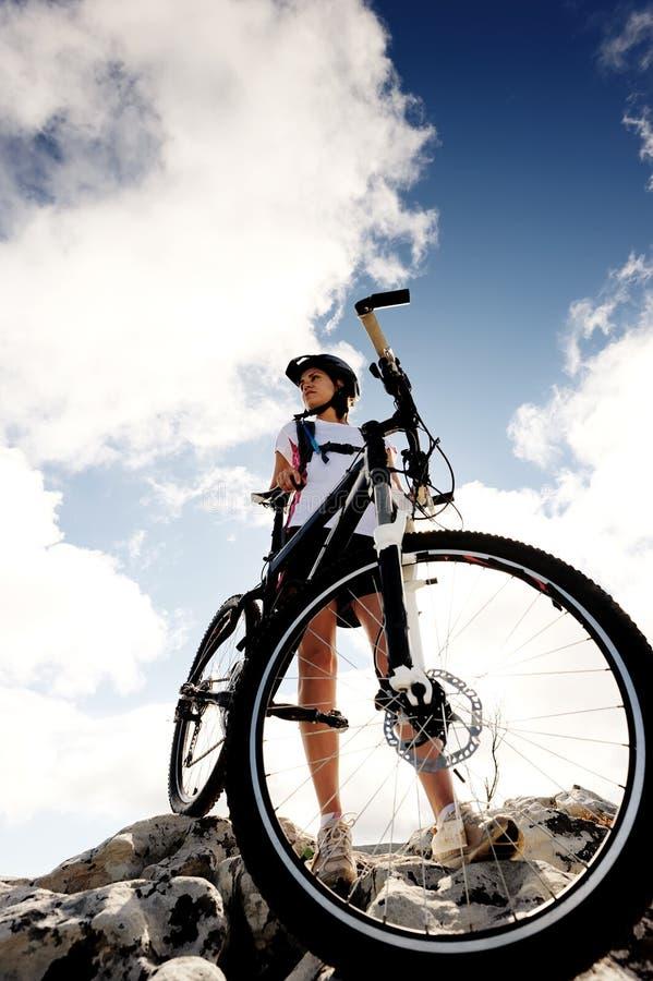 De rust van de fietser einde stock foto