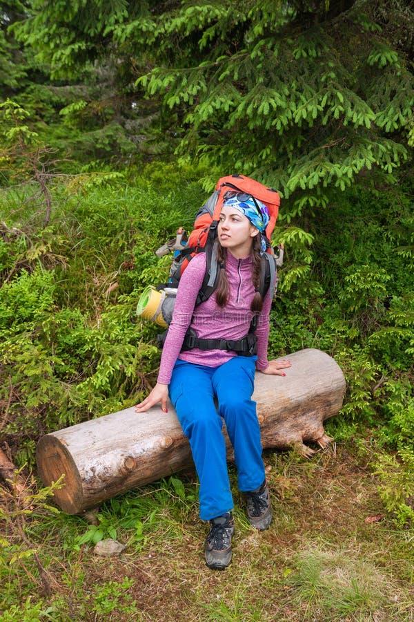 De rust van de vrouwenwandelaar in bos stock foto