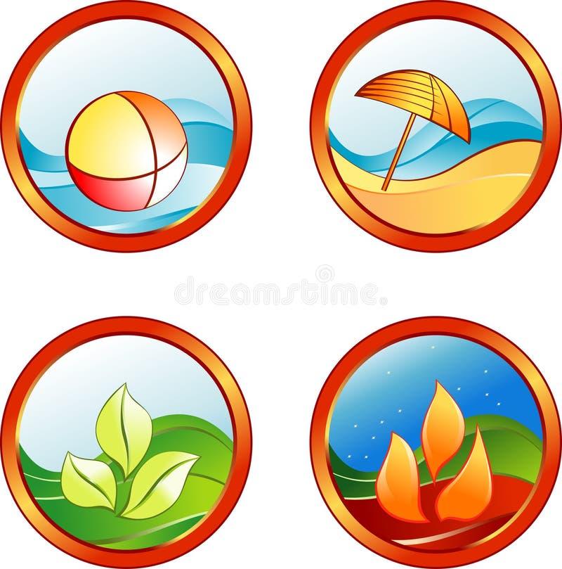De rust van de zomer pictogrammen stock illustratie