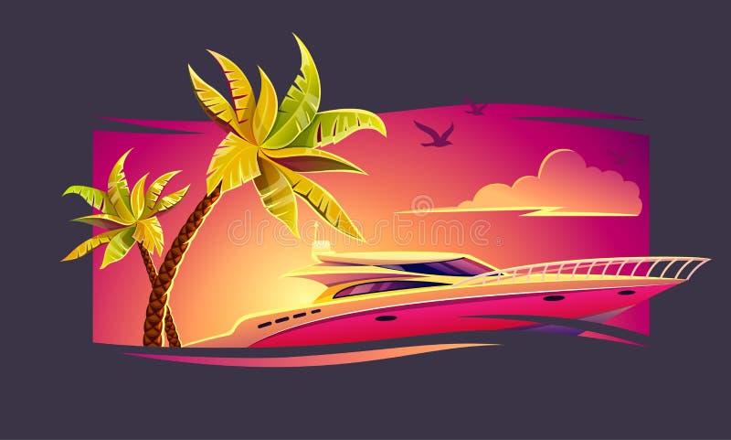 De rust van de eliteluxe op jacht onder tropisch royalty-vrije illustratie