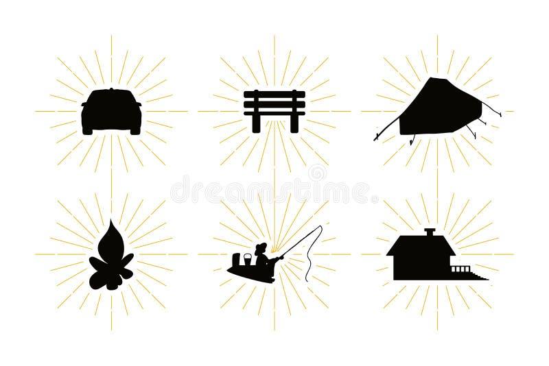 De rust van het land symbolen met vrije tijdssilhouetten dat worden geplaatst vector illustratie