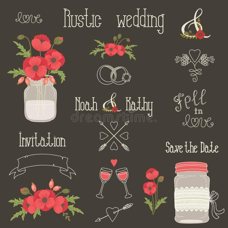 De rustieke elementen van het huwelijksontwerp met papaverbloemen royalty-vrije illustratie