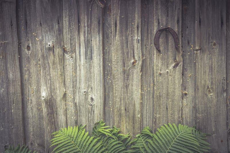 De rustieke houten achtergrond van de de cabineomheining van het muur uitstekende platteland met varenbladeren en hoef voor geluk royalty-vrije stock foto