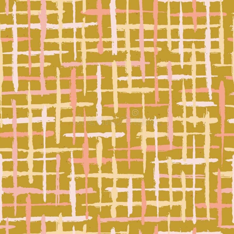De rustieke Strepen Naadloos Vectorpatroon van Textuurgrunge Ruwe Geweven Lijnenillustratie Als achtergrond stock illustratie