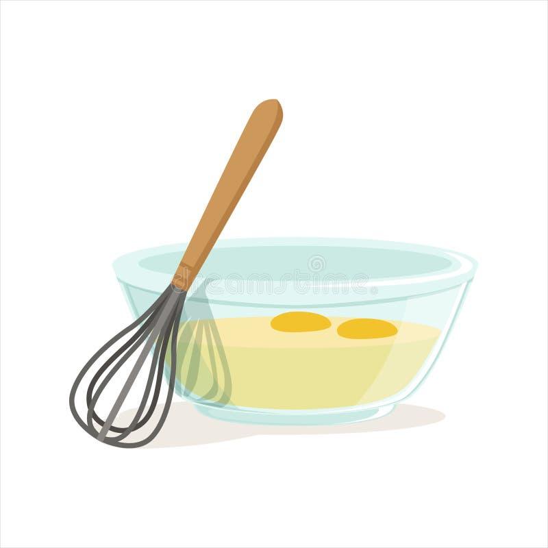 De ruwe eieren in een glaskom en zwaaien voor het ranselen van vectorillustratie stock illustratie