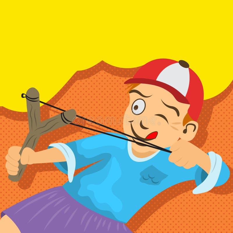 De ruwe jongen probeert om iets met zijn slinger te raken vector illustratie