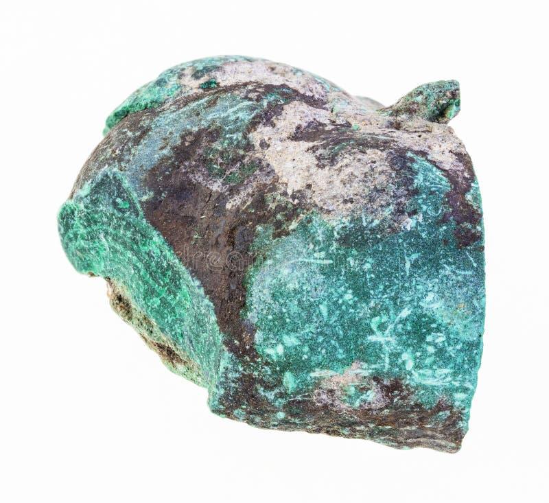 de ruwe steen van de malachietgem op wit royalty-vrije stock foto